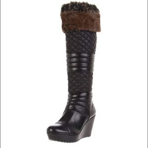 GUESS Pozita Quilted Nylon Fur Tall Wedge Ski Boot
